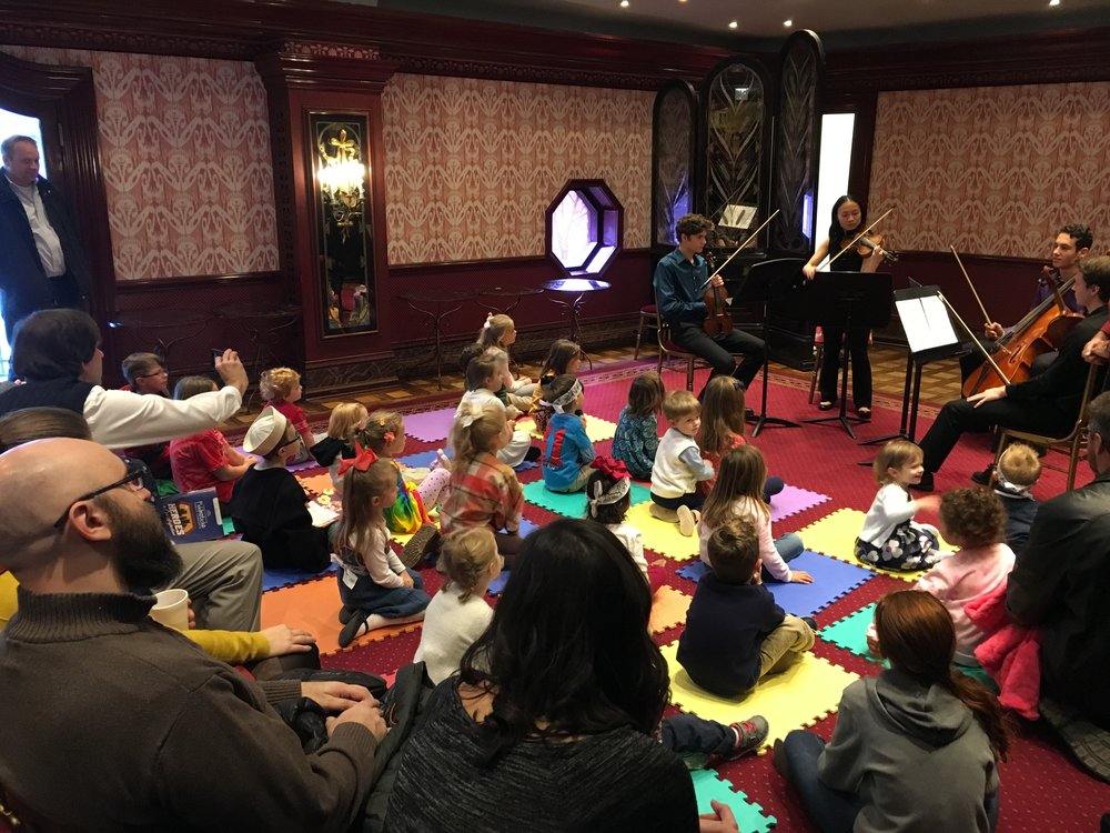 Fiddlesticks Concert Activity - Saturday, November 10, 2018 - Mercurial Quartet - Heinz Hall for the Performing ArtsPYSO and TRYPO members Zach, Mei, Noah, and Felix performed Halloween-themed classical music for Heinz Hall's youngest visitors before the Fiddlesticks Concert.