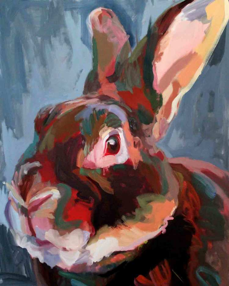 Rabbitude, Major Tom, 2016 Oil on canvas 48 x 60""