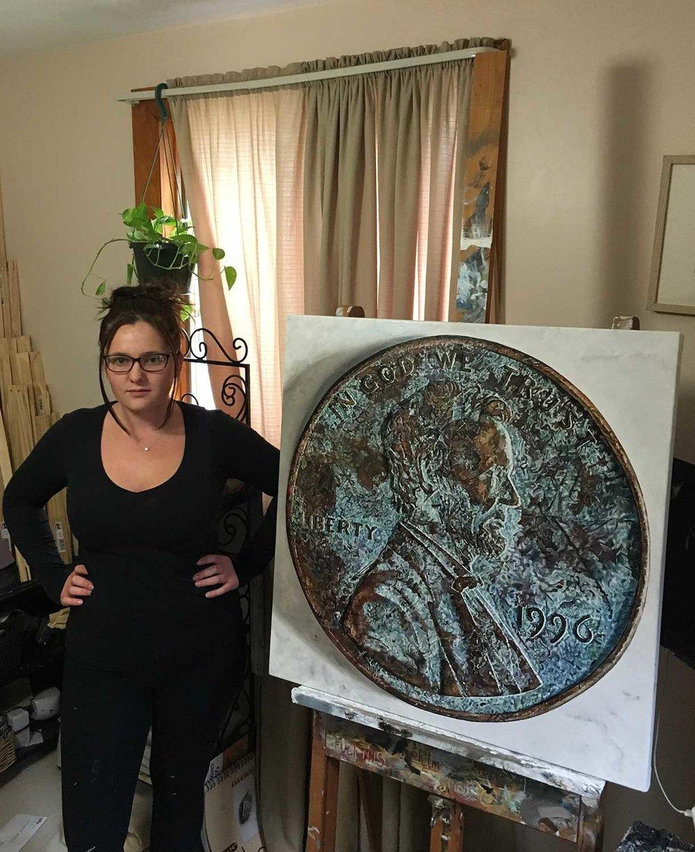 "Tess Barbato, artist with A Corrosion of Democracy, 2017, Oil on canvas 36x36"","