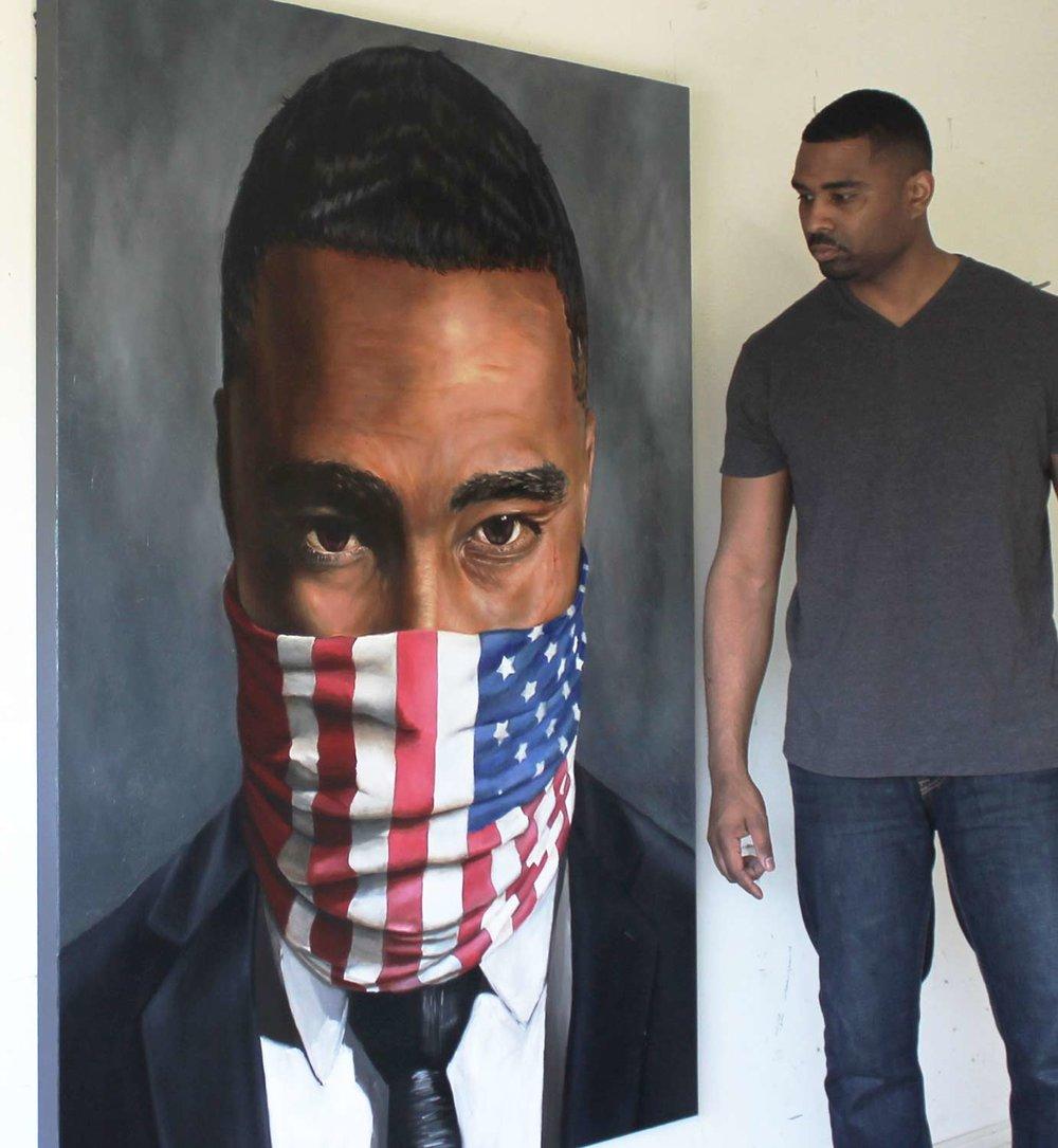 "O'Neil Scott, artist, with Citizen #2, 2016, Oil on canvas, 48 x 60"""