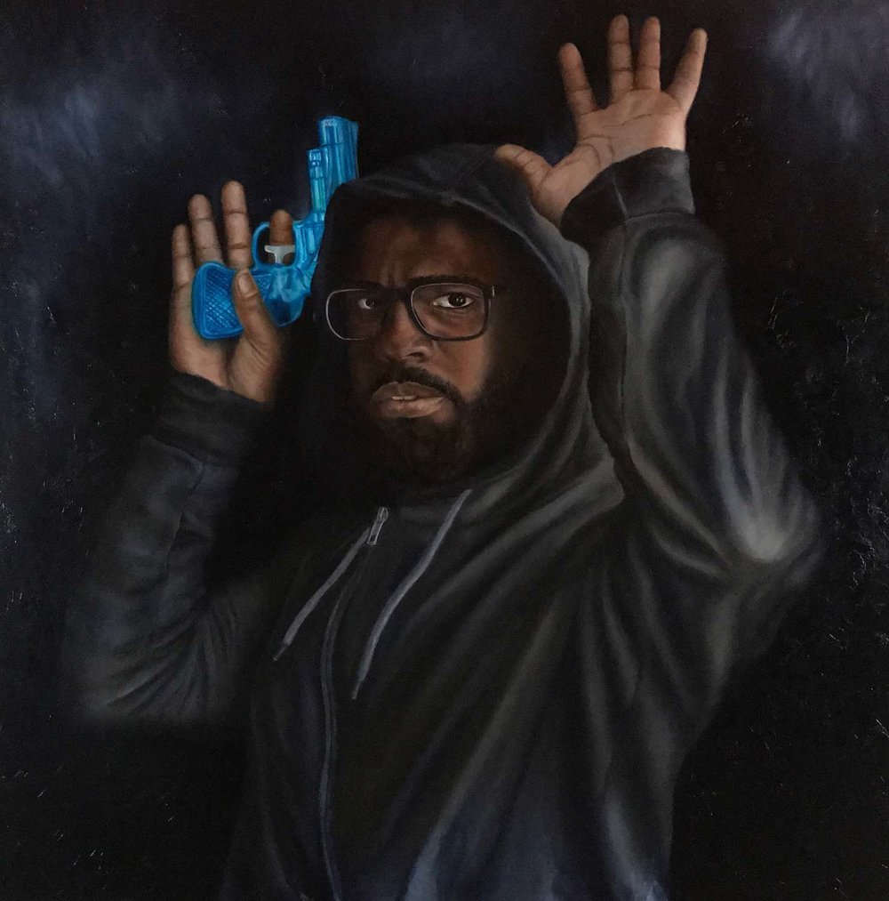 "Don't Shoot It's Only Water No.3 (2017, 48"" x 48"", oil on canvas) by O'Neil Scott"
