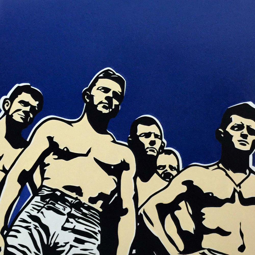 """The Beach Guys, 2017 Enamel on canvas 40x40"""""""