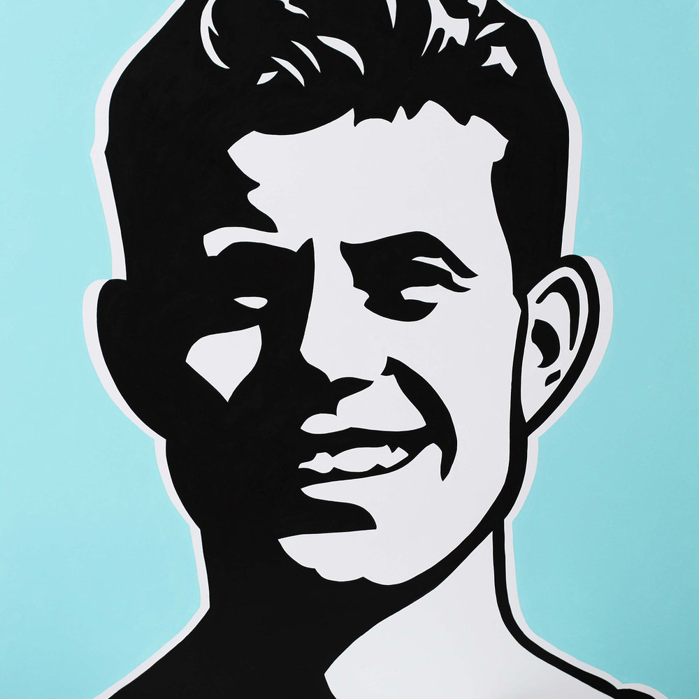 Young JFK, 2017 Enamel on canvas 40x40""