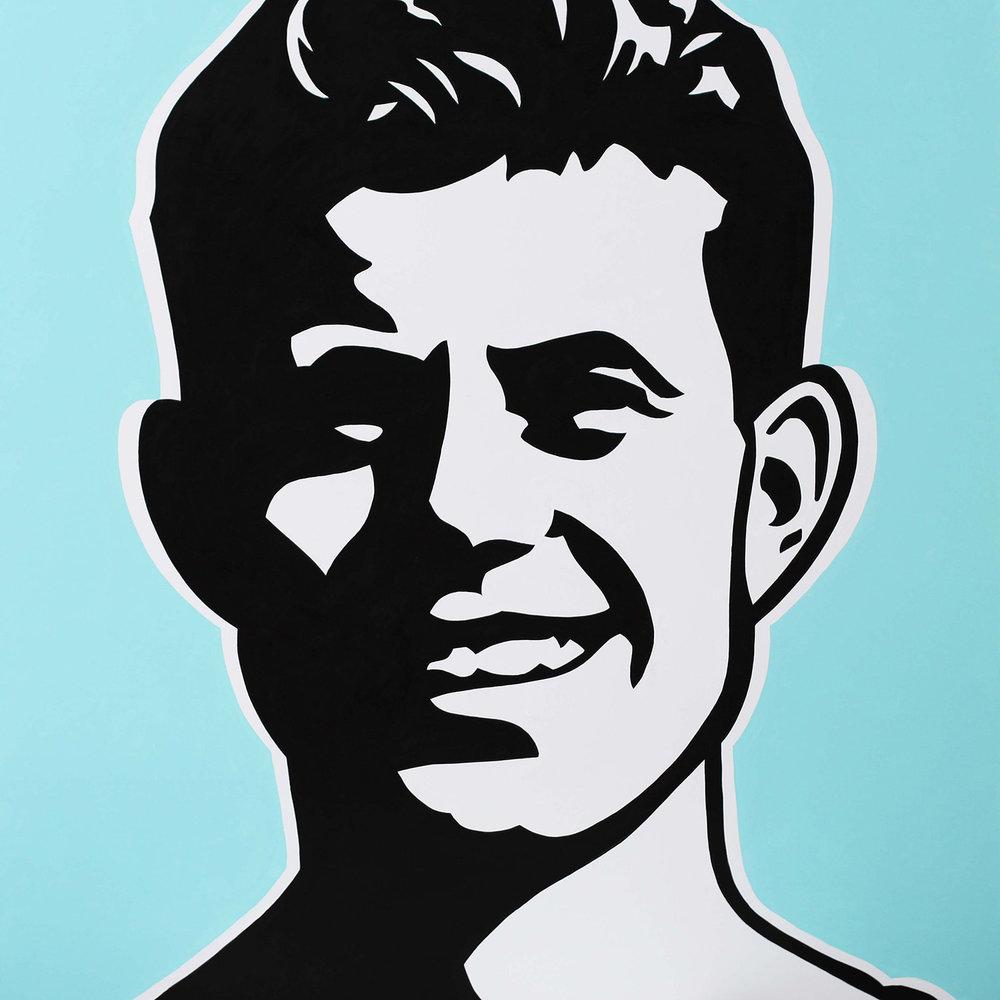"""Young JFK, 2017 Enamel on canvas 40x40"""""""
