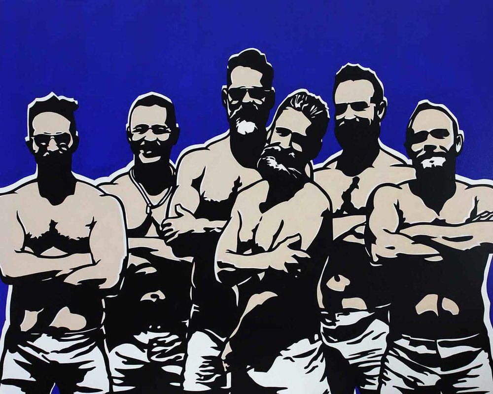 "Jims Gang, 2017 Enamel on canvas 60x48"""
