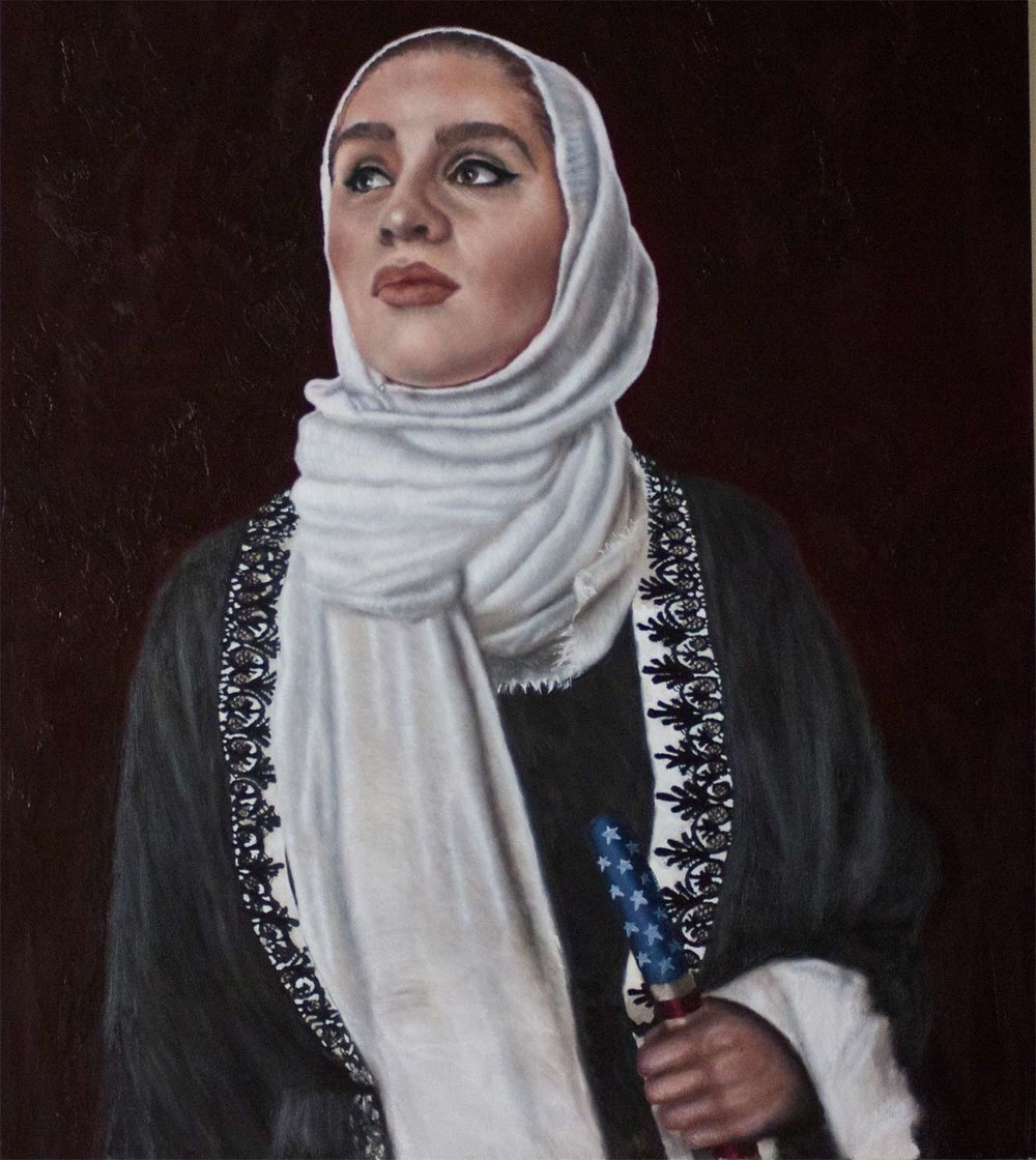 "Muslim American, 2017 Oil On Panel 30X36"""