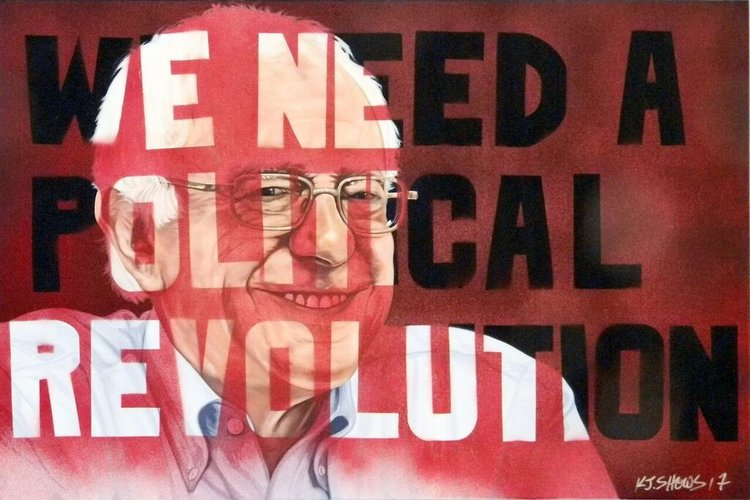 "We Need a Political Revolution (2017, 36"" x 24', oil on canvas) by K.J. Shows"