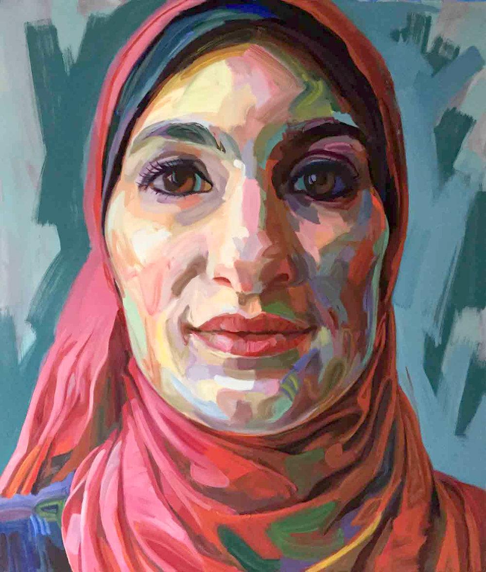 """Linda Sarsour, 2018 Oil on canvas, 72x84"""""""