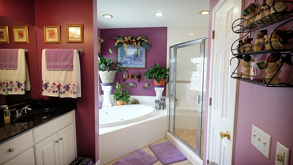 Mauve rose, white and black bathroom with large garden tub - Residential painting by Nash Painting Nashville TN