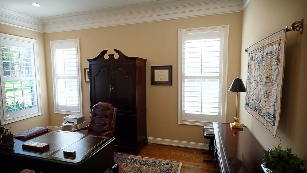 Light tan, taupe home office area with white trim and hardwood floors - Residential painting by Nash Painting Nashville TN