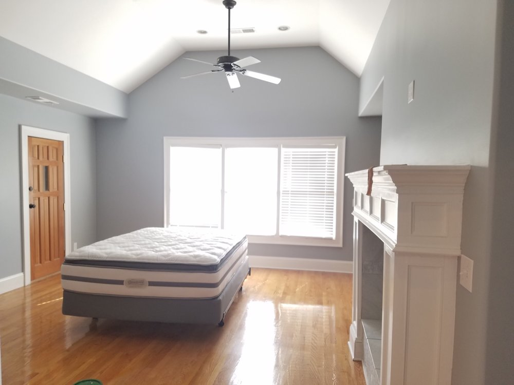 Grey/blue bedroom with white trim - Residential painting by Nash Painting Nashville TN