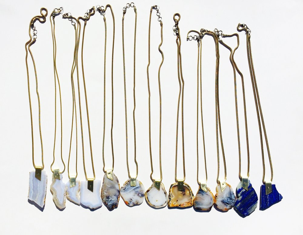 Pangea Necklaces available in Blue Lace Agate, Montana Picture Agate, Lapis and Chrysoprase (not pictured)