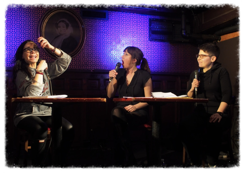 Katharine Heller and Sally Tamarkin record podcast  Struggle Bus  (with Janeane Garofalo) at Union Hall. Photo         by    Tom Scola .