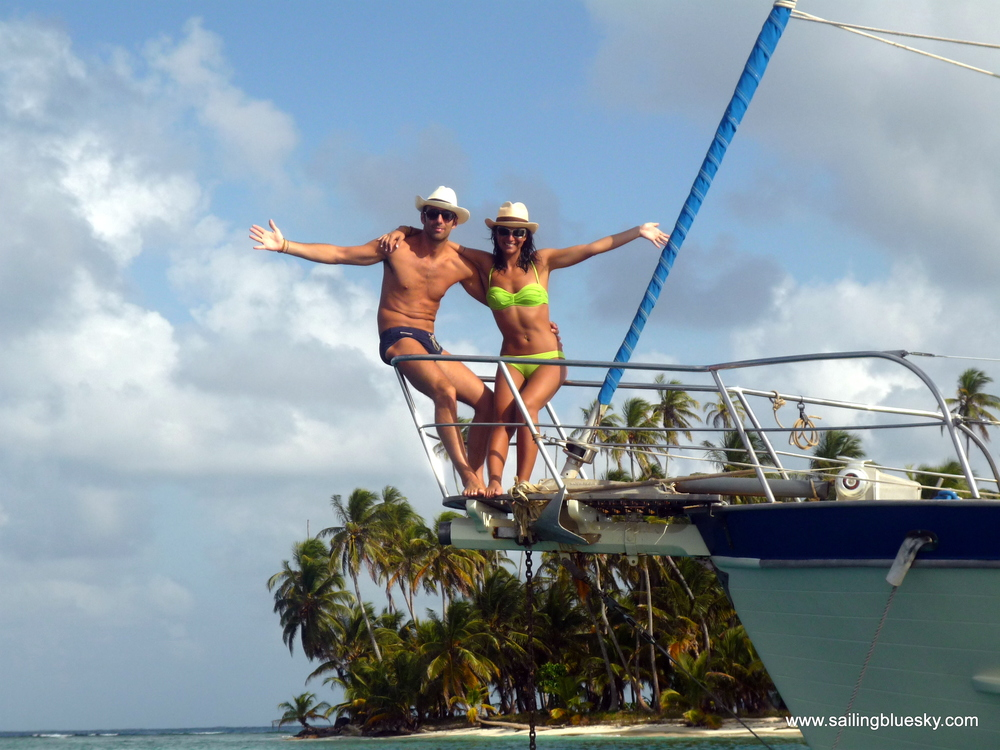 The bow pulpit is always the favorite spot for photos and simply hanging out while under sail. Happy honeymoon!