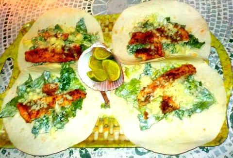 Cesear salad rollups with fish or chicken