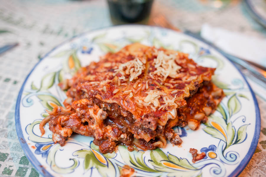 For meat lovers homemade lasagna served with salad