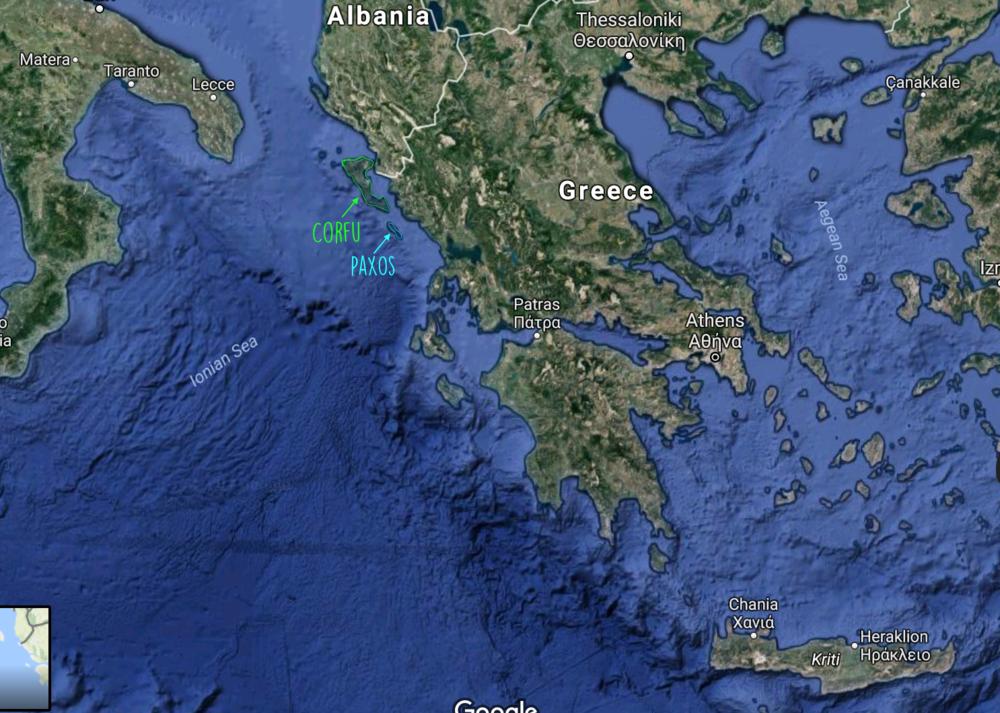 Paxos & corfu map