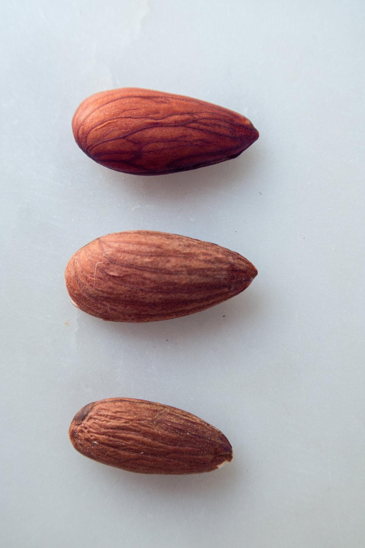 De haut en bas : une amande activée qui vient d'être rincée, une amande activée séchée, et une amande normale.