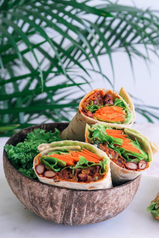 vegan bbq burrito wrap