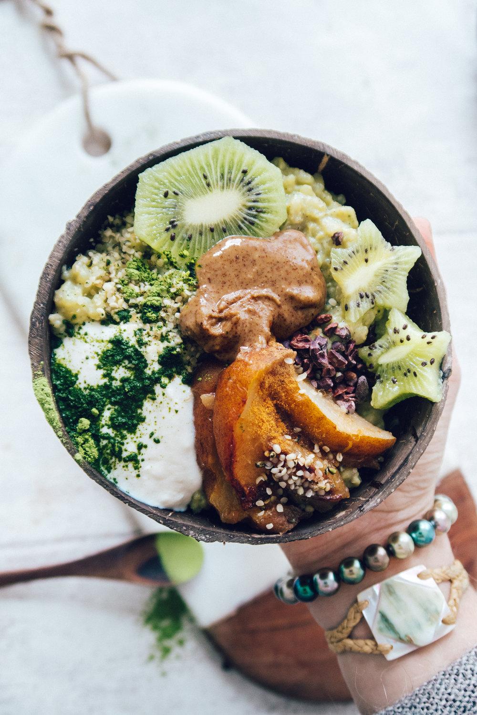 Vegan Matcha Riz-au-lait (Vegan, GF) - Recipe at www.amelietahiti.com