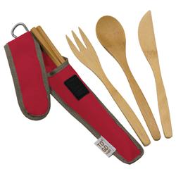 mes couverts en bamboo ! j'y ajoute une paille en métal et j'ai ce kit dans mon sac tout le temps :)