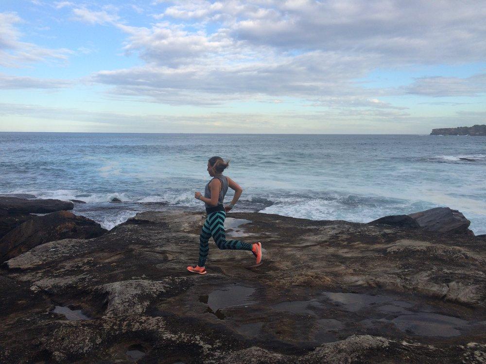 Running in Bondi Beach, Sydney on the coastal walk