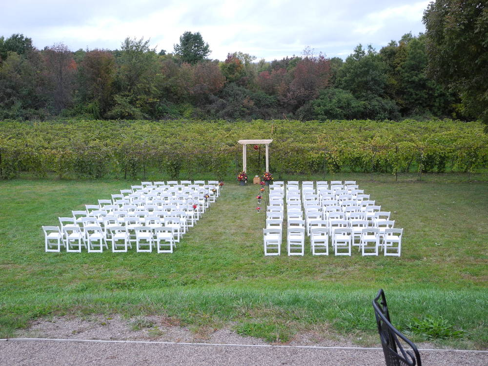 Wedding ceremony settup in the vineyard