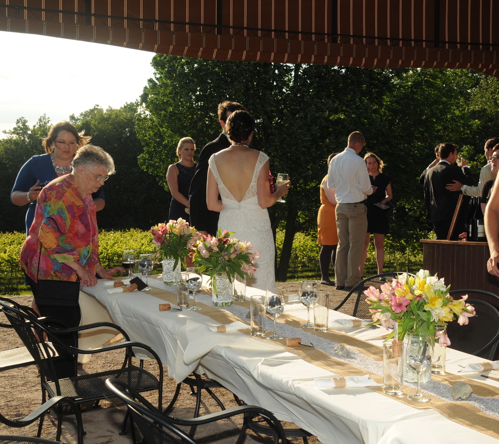 Patio wedding reception