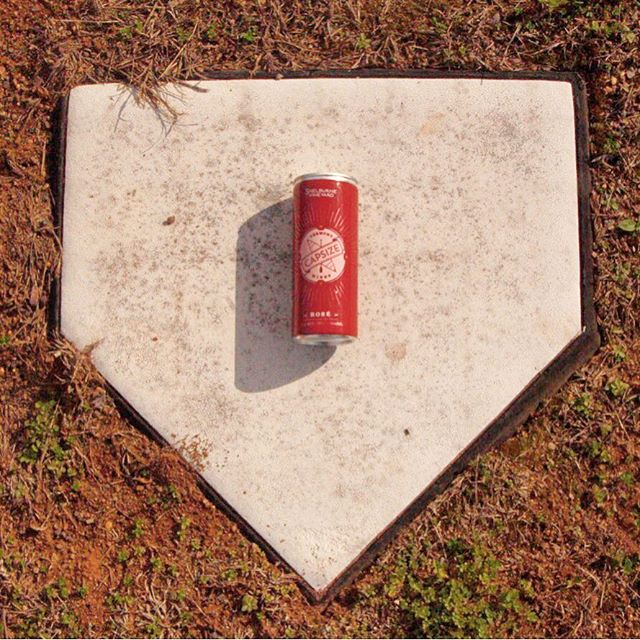It might not enhance our softball batting average, but it sure enhances the game... . . . . . #wineinacan #capsize #fliptheboat #softball #homerun