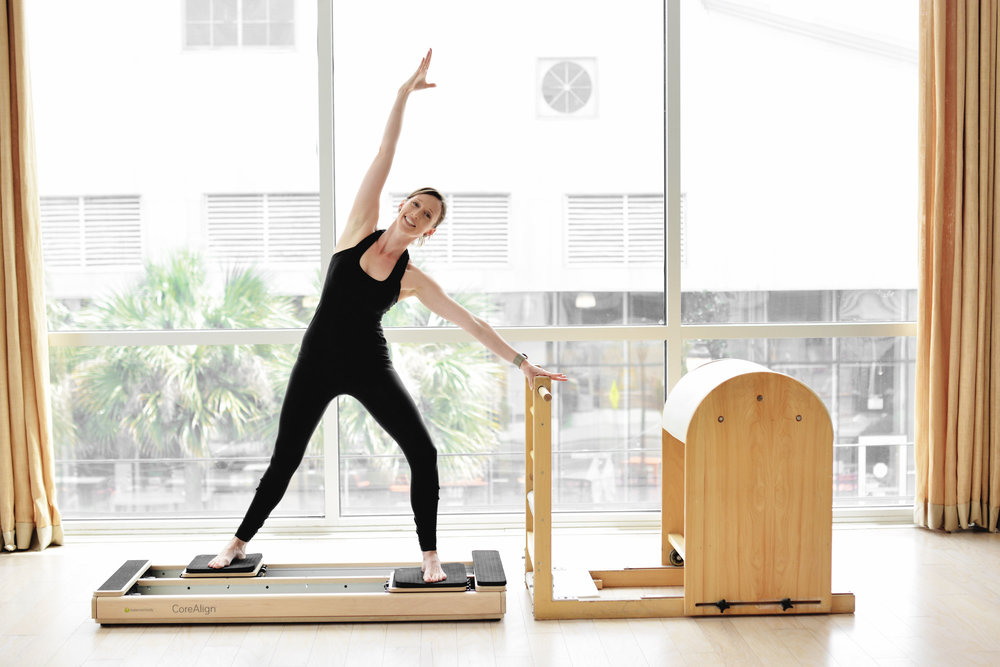CoreAlign - While not technically a piece of Pilates equipment, the CoreAllign was developed by Balanced Body Pilates to bridge the Pilates repertoire of exercises into standing movement patterns.  You could think of the CoreAlign as two small reformers for your feet.