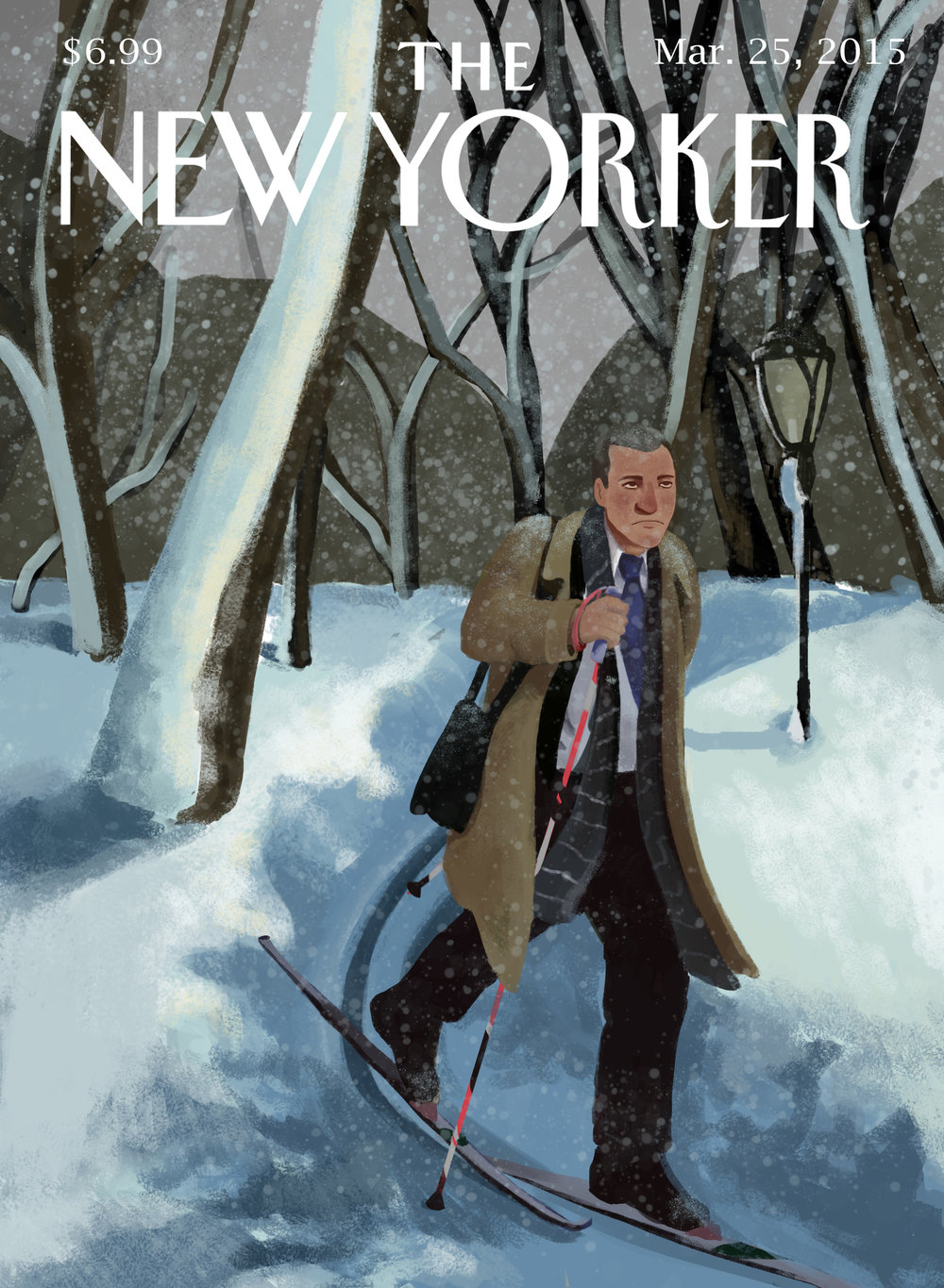 """Student work for a mock key art piece about the """"polar vortex"""" in New York."""