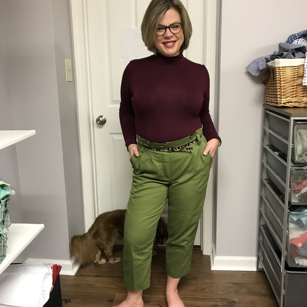 M7726  view B in an olive cotton twill and worn with my new Rowan bodysuit