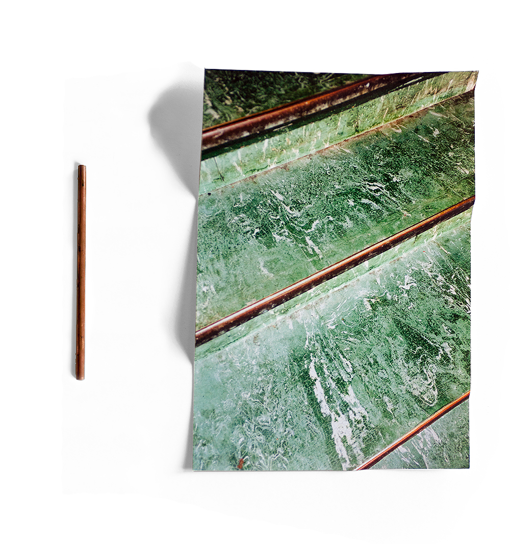 'bend, don't break'  dimensions variable  inkjet print, copper tube   2015
