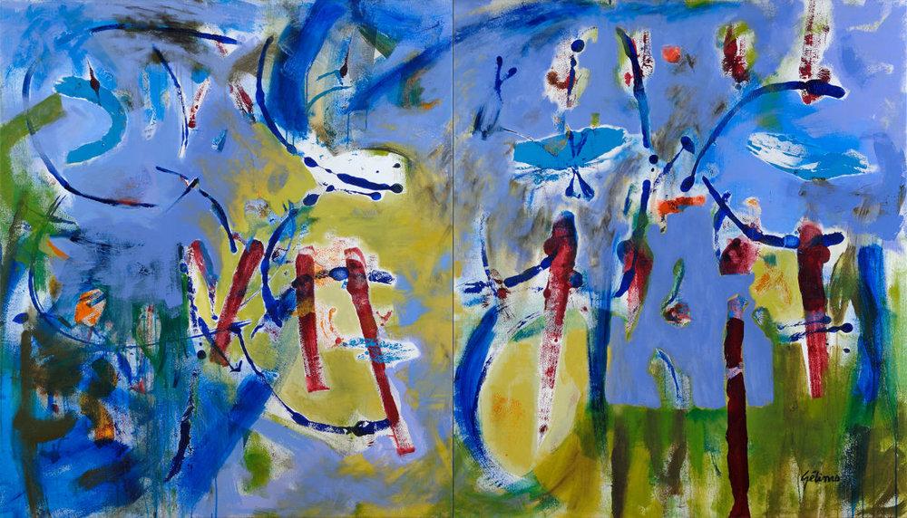 TAPISSERIE EN MAUVE, 2011, acrylique sur toile, 135 cm x 235 cm (disponible)