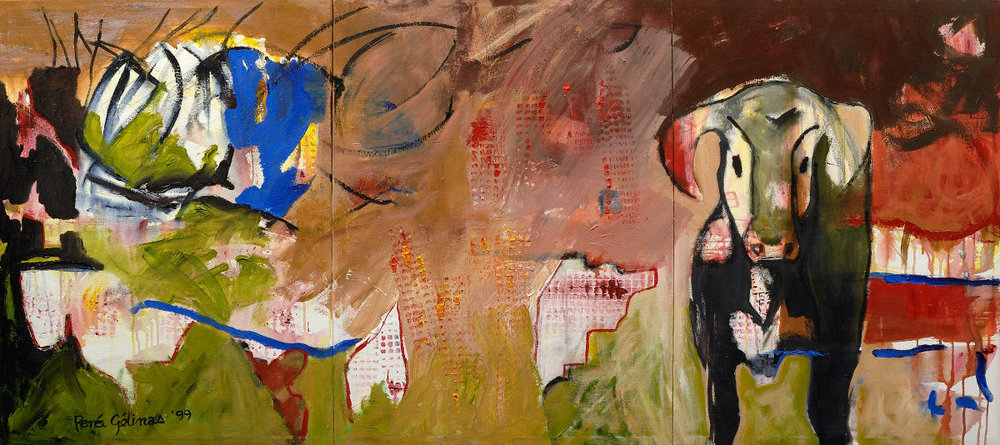 Cielo de sangre, 1999, acrylique sur toile, 80 cm x 200 cm approx. (collection privée)