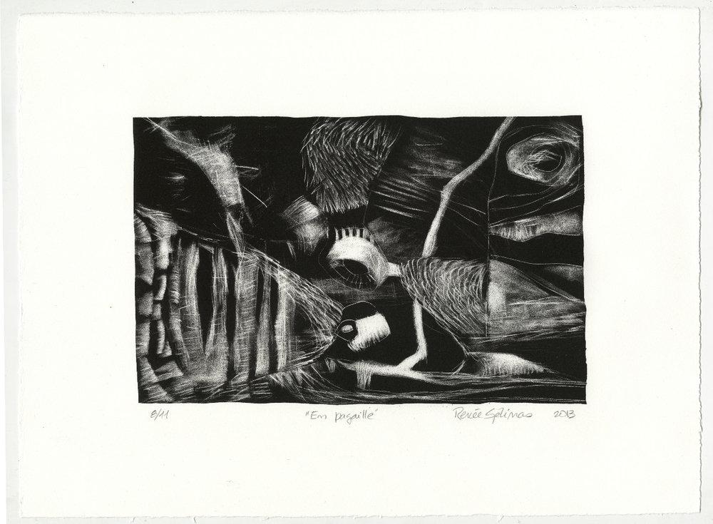 En pagaille - lithographie sur pierre, manière noire, 2013