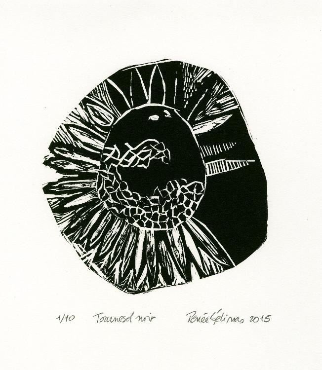 Tournesol noir - linogravure, 2015