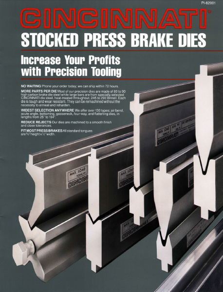 Press Brake Stocked Die Catalog