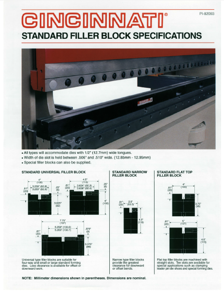 Press Brake Standard Filler Block Specifications