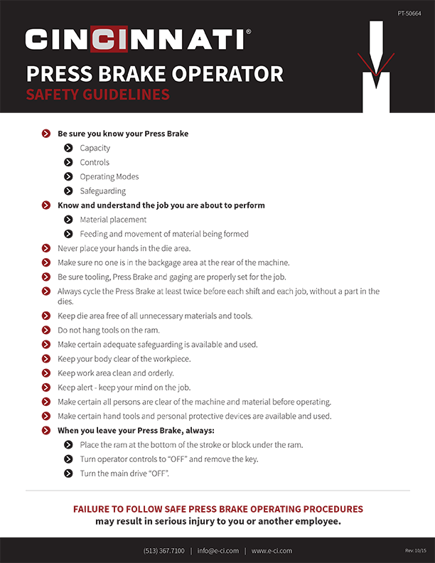 Press Brake Safety Guidelines