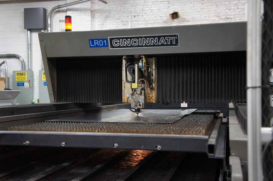 Two lasers from Cincinnati Inc., a CO2 707 for 5-ft.-by-10-ft. dual pallets and a CO2 840 also for 5-ft.-by-10-ft. dual pallets, process a variety of sheet metal for Midland Metal Products, located in Chicago.