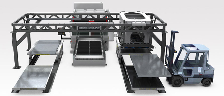 Cincinnati Inc.'s Modular Material Handling System, or MMHS-100, similar to the one residing at Midland Metal Products, is flexible and expandable and can be integrated into one or more Cincinnati laser systems.
