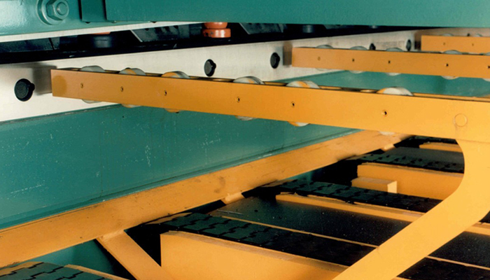CV Shear Conveyor Roller Support Arms in Raised Position (Left Rear)