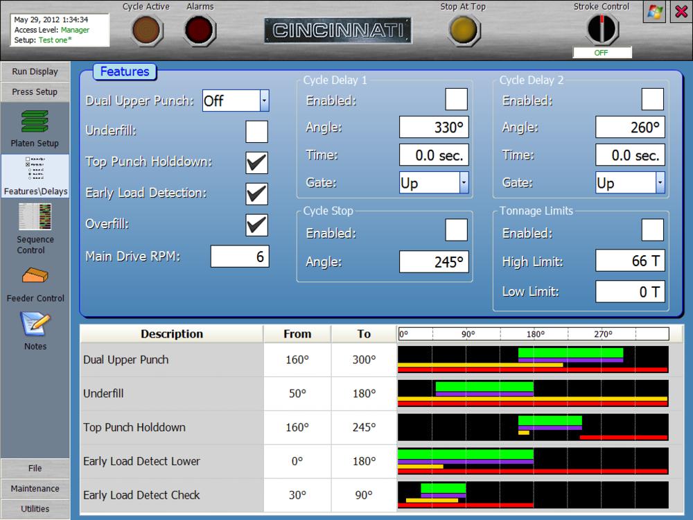 Powdered Metal Press Features/Delays Screen