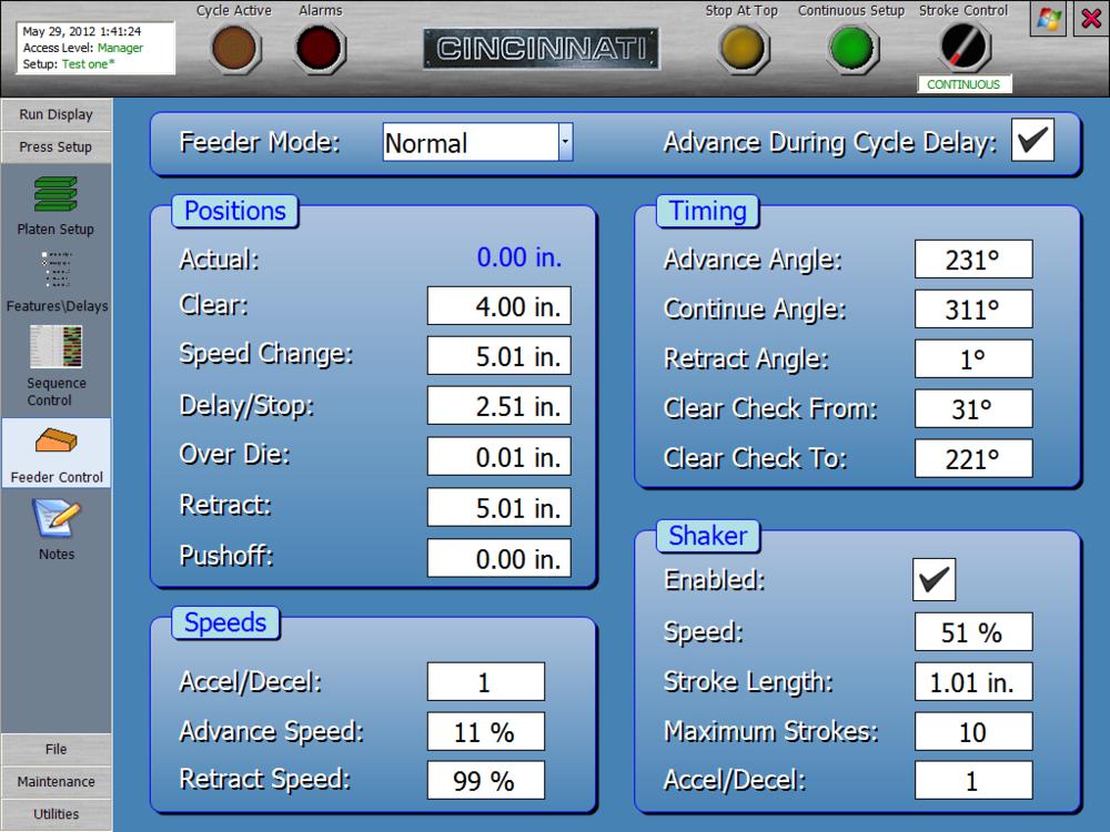 Powder Metal Press Feeder Control Screen