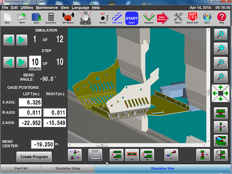 Part Simulation Screen