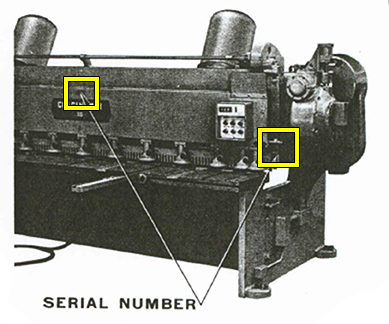 Mechanical & Hydraulic Shear Serial Number Location