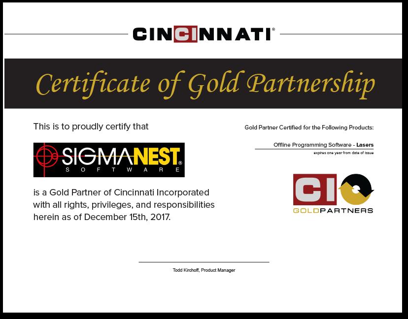SigmaNest Gold partner Certificate