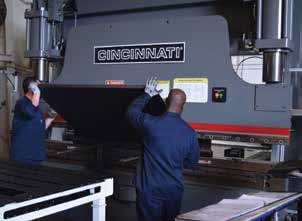 By adopting a newer style of tooling on this Cincinnati press brake, operators have been able to reduce tooling changeovers substantially.