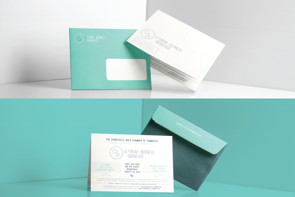neutral7 graphic design innovation gainesville branding envelope invitation bifold card